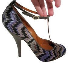 Missoni Rashel Snake T-Strap Heels sz 40/9 Violet zigzag crochet shoes NEW $725