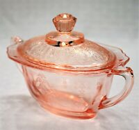 """Anchor Hocking Princess Pink Sugar Bowl and Lid (Height: 4"""", Width: 6-1/8"""")"""