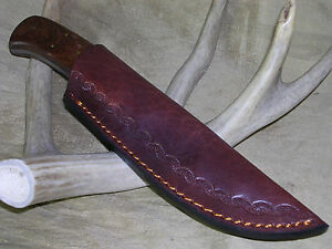 BURL PATCH SCALPING HUNTING BOWIE KNIFE W/ LEATHER SHEATH CASE !!!