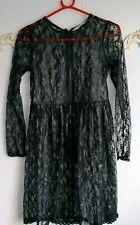 River Island Black Sheer Lace Skater Dress BNWT Size UK 6