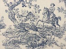 Traumhafter Toile de Jouy, Jagdmotive blau,  Baumwolle, Breite 280cm