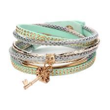 Charm Women Bracelet Crystal Rhinestone Leather Wrap Bangle Jewelry Multilayer