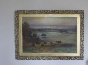 19th century oil  country house landscape  scene by samuel lawson booth