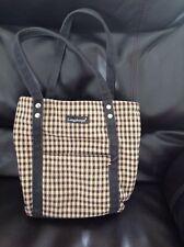 Longaberger Tan Black Check Homestead Small Tote Handbag Bucket