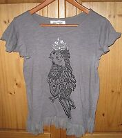 c30805ab038dc Steve Madden Women s Knit Shirt Top Pullover Tee Bird Graphic Gray lace  Trim L