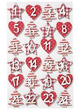 Numeri in legno-TESSUTO DESIGN 1-24 ROSSO ADVENTSKALENDER numeri Advent Calendario vescicole
