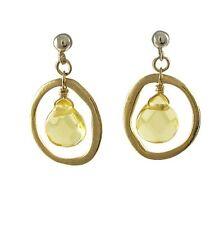 Gold Finish Citrine Open Circle Teens Womens Dangle Earrings