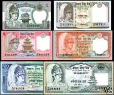 NEPAL- Rupees 2,5,10,20,50,100 SET 6 NOTES w/sign #14, p - 29 to 34 and 38 UNC