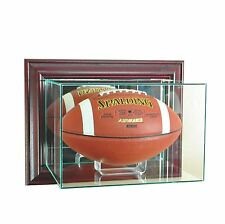New Wall Mounted Football Display Case GLASS UV Cherry Molding FREE SHIPPING