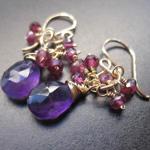 Purple Amethyst, Garnet Wire Wrapped Gemstones Dangle Earrings