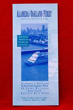 Alameda/Oakland Ferry - Time Table - Nov. 3 2001 thru Mar 1, 2002