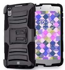 For Alcatel One Touch Idol 4 Armor Kickstand Belt Clip Holster Case BLACK