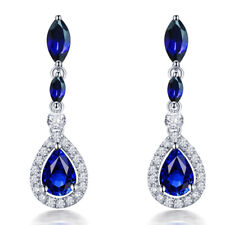Jewelry Sets Vintage 14k White Gold Natural Diamonds Sapphire Female Earrings