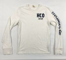 Hollister White Sweatshirt Small Mens Crew Neck Spell Out Cotton Long Sleeve