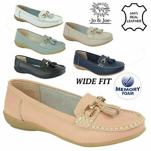 Ladies Wide Fit Shoes Slip On Womens Memory Foam Work LEATHER Loafer Shoe Size