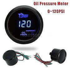 "52mm 2"" Digital Car Oil Pressure Meter Gauge With Sensor 0~120PSI Blue LED LCD"