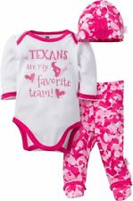 Nfl Houston Texans Baby Girls Bodysuit, Pant And Cap Outfit Set, 3-Piece