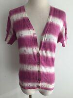 Ann Taylor LOFT Light Cotton Cardigan Sweater Magenta/Berry & White Tie-Dye Sz S