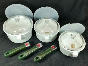 NEW GREEN detachable handle Princess House Nouveau Cookware Set 12 piece 278G