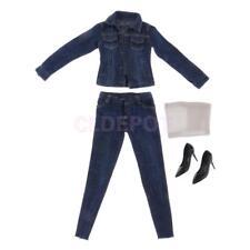 1/6 SCALA DENIM Blu Abbigliamento Donna Giacca Di Jeans Set per figure Hot Toys