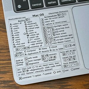 Synerlogic Mac OS (CLEAR VINYL) Reference Guide Shortcut sticker for M1 or Intel