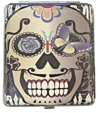 Eclipse Candy Skull Butterfly Leatherette Crush Proof Metal Cigarette Case, 100s