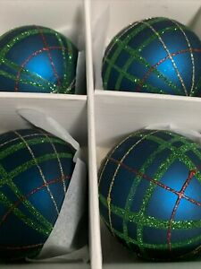 "Christmas Martha Stewart Peacock Teal Blue Green Glitter Glass 3"" Ornaments S/4"
