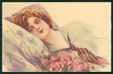 Artist Signed Corbella Glamour Lady WATER STAIN serie 250-3 postcard TC3340