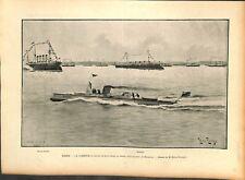 Marine La Turbinia turbine à vapeur bateau rapide rade Spithead UK GRAVURE 1897