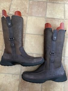 Ecco Ladies Brown Leather Fur Lined Boots, Size 39 (UK 6), Very Good Condition