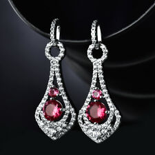 HUCHE Hollow Drop Design Red Diamond Ruby Silver Gold Filled Lady Dangle Earring