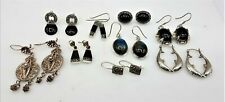 9 Pairs of 925 Sterling Silver Earrings Onyx Labradorite LB758