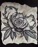 Rose Flower Heart 420 Leaves By Gafflezzz Original Artwork Pen Ink Drawing 11x14