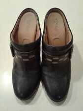 Euro Soft by Sofft  Women's Black Leather Clogs Metal Fashion Buckle Size 10 M