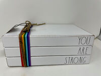 NEW RAE DUNN - YOU ARE STRONG - Wood Book Stack