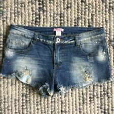 SUPRE Women's Size Small Blue Denim Cut Off Frayed Edges Mini Shorts Distressed