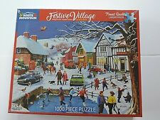 "New 1,000 Piece Kevin Walsh Puzzle ""Festive Village""  24"" x 30"" White Mountain"