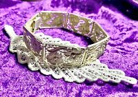 Beautiful Vintage Floral Filigree Panel BRACELET/Armchain in 830 SILVER