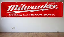 Milwaukee Tools Flag Banner 2X8Ft Heavy Duty Wall Decor Garage shop