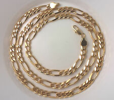 G-Filled 18k Mens gold chain 24 inch figaro necklace Gents long Italian 7mm wide