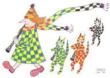 Tarjeta C6 #MadPiedCatWoman Azul Amarillo a Cuadros Abrigo, 3 Arlequín Gatos Pascual
