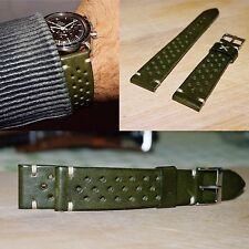 20mm handmade Military olive Green Leather Rally watch Strap speedmaster Racing