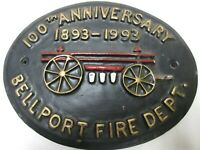 Bellport New York Fire Dept. 100th Anniversary Wall Plaque 1893-1993 Long Island