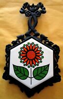 Vintage Retro Flower Kitchen Footed Trivet - Retro Cast Iron + Ceramic Tile