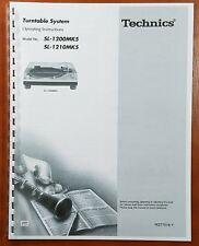 Technics SL-1200MK5 and SL-1210MK5 Turntable Owners Manual