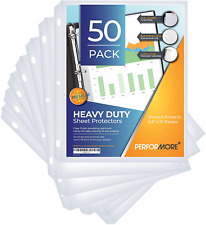 50 Sheet Protectors Heavy Duty 85 X 11 Inch Clear Page Protectors For 3 Ring B