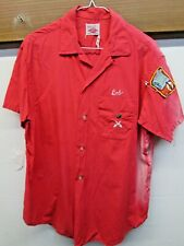 Vintage 1950's Brent Sportshirt Embroidery bowling shirt Pima Cotton Abc L Red