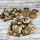 BUILD A BEAR Outfit Camouflage Camo Shorts Shirt Boots Shoes BAB Army Military
