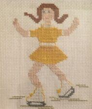 Cross Stitch Vintage Girl Figure Skater - Finished Framed