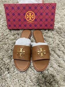 TORY BURCH 'EVERLY' BLACK LEATHER & LEATHER LINED GOLD LOGO SLIDE SANDALS 9 M